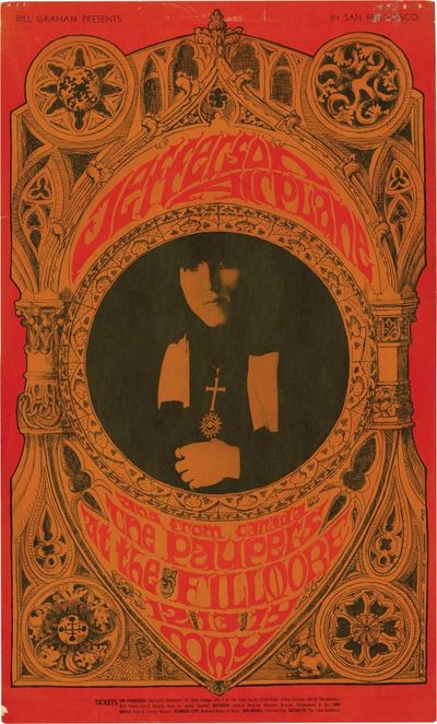 San Francisco: Bill Graham Productions, 1967. Original silkscreen poster for a performance by the Je...