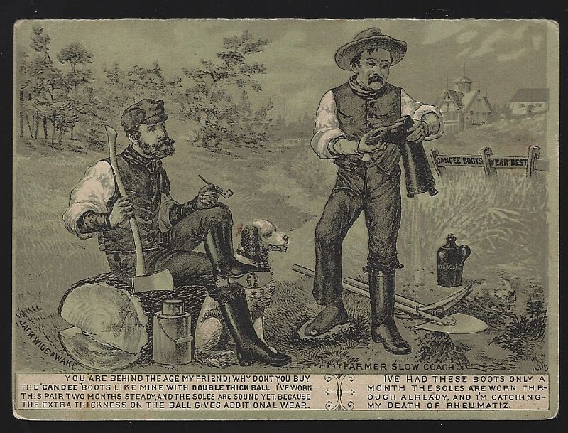 VICTORIAN TRADE FOLDER FOR CANDEE RUBBER BOOTS WITH FARMERS, Advertisement