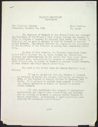 Press Service No. 29-28, For Immediate Release Wednesday, December 24, 1941. The Minister of Denmark to the United States has informed the Secretary of the Treasury that coupons falling due January 1, 1942, on Kingdom of Denmark ..