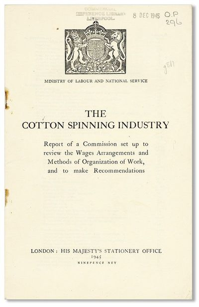 London: HMSO, 1945. First Edition. Octavo. Staple-bound self-wrappers; 51pp. Institutional hand-stam...