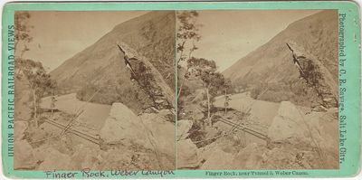Salt Lake City: Pioneer Art Gallery, 1870. Stereoview. Albumen photograph. ] on a green mount Gentle...