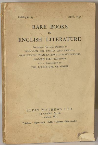 London: Elkin Mathews LTD, 1931. Soft Cover. near Very Good binding. Binding sound; though wrappers ...