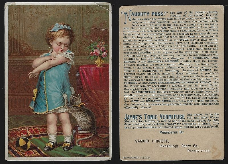 VICTORIAN TRADE CARD FOR DR. D. JAYNE'S TONIC VERMIFUGE WITH GIRL AND KITTEN, NAUGHTY PUSS, Advertisement