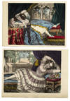 [Pair of Victorian Semi-Erotic, Hand-Colored Lithographic Prints Depicting Reclining Women, One of Whom is Smoking]