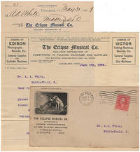 Business letter and invoice for a phonograph wholesaler enclosed in an illustrated advertising envelope featuring the famous His Master's Voice illustration of a dog listening to a recording