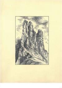 Ohne Titel [Dolomiten, Rosengarten, Vajolettürme, Südtirol, Italien (Torri del Vajolet, Dolomiti, Catinaccio, Alto Adige, Italia)], ca. 1950. Schwarze Tusche und Bleistift auf beigem Karton.