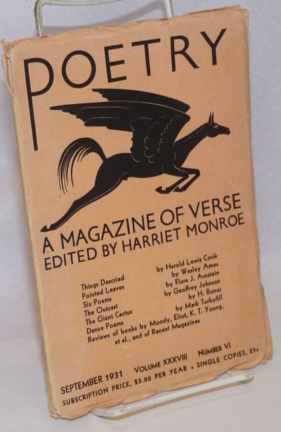 Chicago: Poetry, 1931. Magazine. pp295-354, 5.5x8 inches, very good in lightly-worn original peach p...
