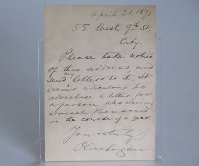 [Autographed note, signed by Olive...