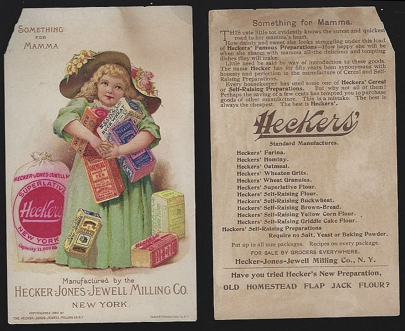 VICTORIAN TRADE CARD FOR HECKER-JONES-JEWELL MILLING WITH CUTE GIRL, Advertisement