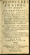 View Image 2 of 3 for Proverbes en Rimes ou Rimes en Proverbes Inventory #045825