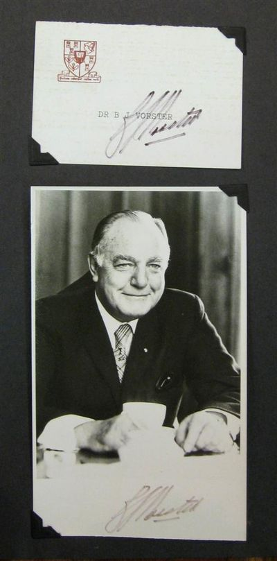Port Elizabeth, South Africa, 1981. unbound. Signed presidential card with a signed black-and-white ...