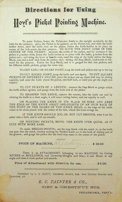 Philadelphia, Penn'a: E. C. Tainter & Co, 1877. Good. 5 1/8 x 8 1/2 inches. Black ink on off-white p...