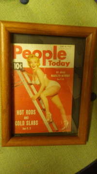 People Today June 18, 1952 Marilyn Monroe on Cvr in White 2 Piece Swimsuit & Heels on Ladder, 6/18/52 , All About Marilyn, Hot Rods & Cold Slabs , MAGAZINE is in Small Wooden Frame