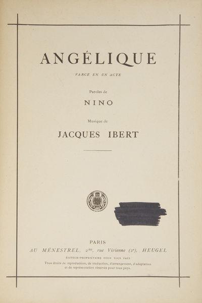 Paris: Au Ménestrel, Heugel , 1930. Large octavo. Original publisher's dark ivory printed wrappers....