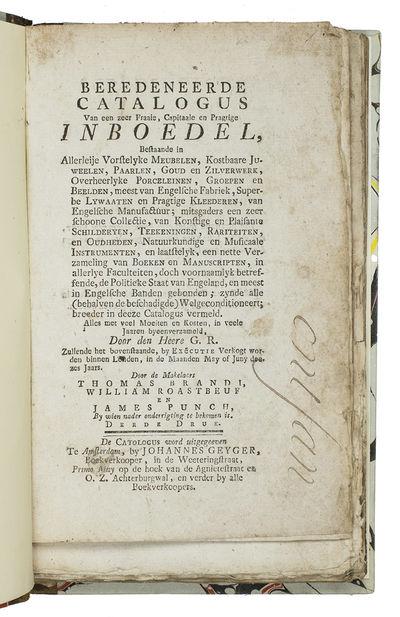 Beredeneerde catalogus van een zeer...