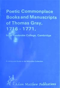 image of Poetic Commonplace Books and Manuscripts of Thomas Gray, 1716-1771, From Pembroke College, Cambridge