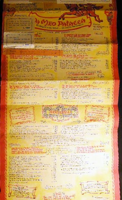 Rome, Italy: Da Meo Patacca , 1959. The menu for dishes and beverages founded by ex-patriate America...