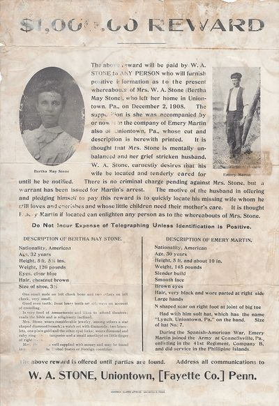 San Antonio, TX: Maverick Clarke Litho Co, 1908. Reward poster Good only. Four Horizontal folds with...