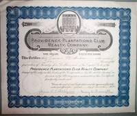 image of Original 1926 Providence Plantations Club Realty Co. Stock Certificate