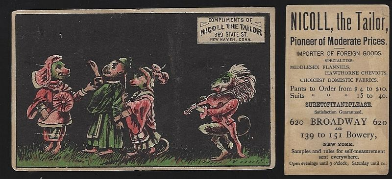 VICTORIAN TRADE CARD FOR NICOLL THE TAILOR, NEW YORK WITH ANIMAL WEDDING, Advertisement