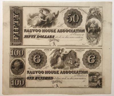 Nauvoo, IL, 1842. unbound. Nauvoo House Association $50-$100 Stock Certificates (Uncut Pair). This v...