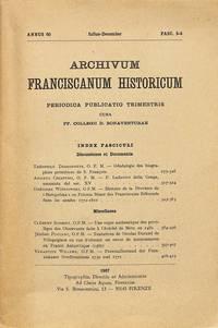 ARCHIVUM FRANCISCANUM HISTORICUM. Annus 60 Julius-December Fasc. 3-4.
