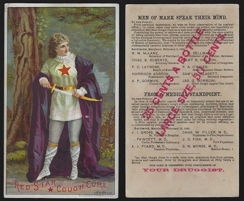 VICTORIAN TRADE CARD FOR RED STAR COUGH CURE WITH LOVELY LADY, Advertisement