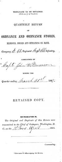 1863 Camp Farr, Bayou Gentilly, Sword Bayonets, Musket  Document