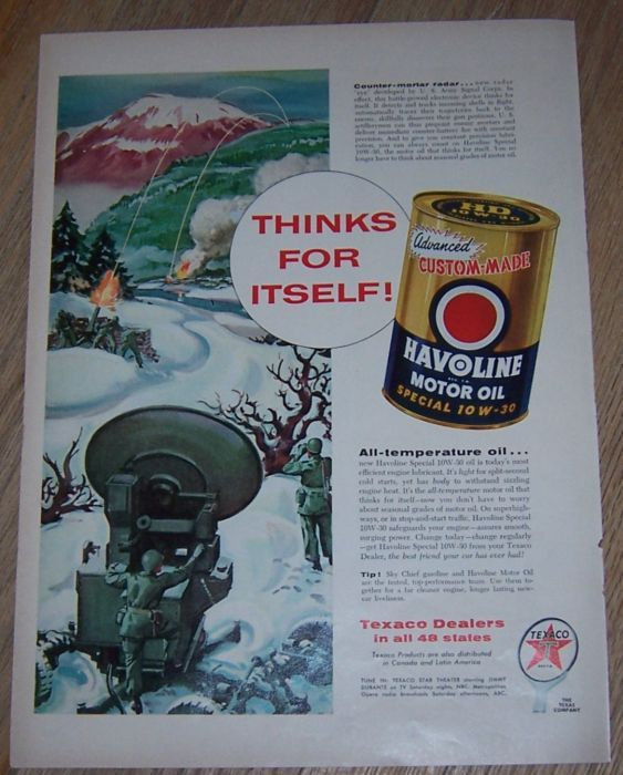 1956 HAVOLINE MOTOR OIL MAGAZINE COLOR ADVERTISEMENT, Advertisement