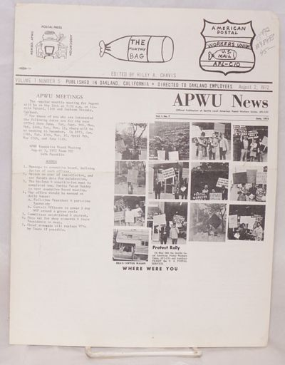 Oakland: APWU, 1972. 8.5x11 inches, illustrated with b&w photos and cartoons, top corner dog-eared e...