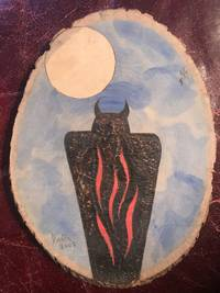 Horned Owl Shadow Figure Possible Utah Pictograph Figure  Hand Painted On 8 x 6 inch Circular Pine Wood Signed \'Dionne 2003\' Iroquois Museum