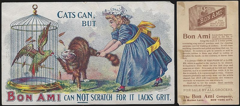 VICTORIAN TRADE CARD FOR BON AMI WITH GIRL AND CAT, Advertisement