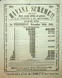 [ Broadside ] HAVANA SCHEME!!  : Shelby College Lottery of Kentucky, Z. E. Simmons & Co, Managers Class 572, to be drawn in Covington, Kentucky, on Wednesday November 30th, 1864 ... Fletcher & Co., Box 3763, P.O., New York City