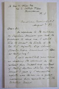 AUTOGRAPH LETTER SIGNED, 7 AUGUST 1882, TO GEORGE BLISS, REGARDING THE BATTLE OF GETTYSBURG