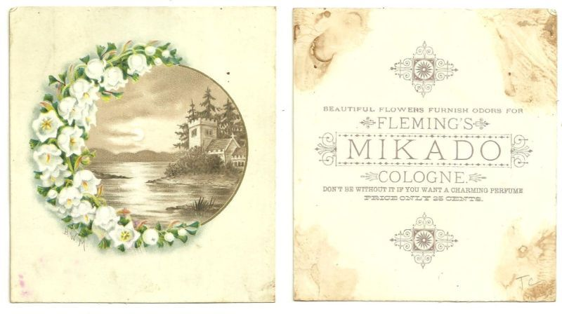 VICTORIAN TRADE CARD FOR FLEMING'S MIKADO COLOGNE, Advertisement