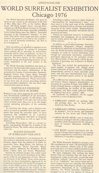 Chicago: (Chicago Surrealist Group). 1976. Broadside. Single legal-size sheet printed on both sides,...