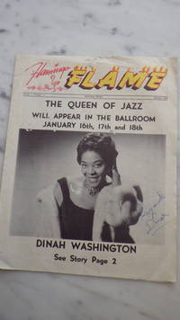 DINAH WASHINGTON, SIGNED Regards DINAH on  cover , Naples, Italy January 1962 FLAMINGO FLAME Magazine Queen of Jazz, Volume 5, Number 1 on front,