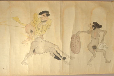 . . Edo Period. . Paper scroll approx 38cm x 4m with over 50 drawings of men, some of whom are enga...