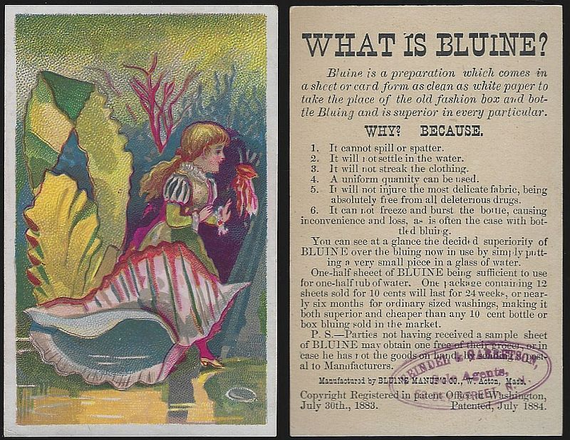 VICTORIAN TRADE CARD FOR BLUINE WITH GIRL AND SEA SHELLS, Advertisement