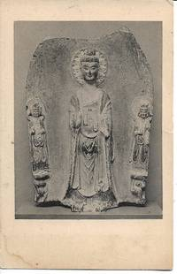 image of 6th Century Chinese Buddhist Stone Sculpture on Vintage 1910s-20s Postcard