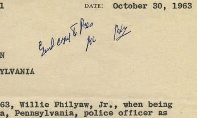 30/10/1963. Signed by Robert Kennedy, initialed by Hoover, seen by President Kennedy, and retained i...