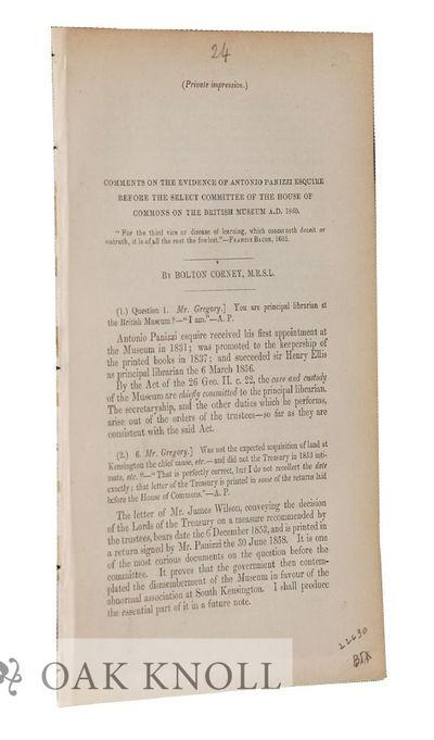 London: (F. Shoberl, Printer), 1860. disbound. Panizzi, Antonio. 8vo. disbound. 16 pages. An edited ...