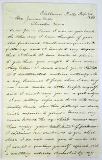 AUTOGRAPH LETTER SIGNED, WITH DETAILED ILLUSTRATION ON THE FINAL PAGE, BY THE FAMED INVENTOR OF THE YALE LOCK, FROM SHELBURNE, MASS., FEBRUARY 24, 1868, TO JEROME WELLS, PRESIDENT OF THE CHICOPEE SAVINGS BANK, IN WHICH THE ENTHUSIASTIC, KNOWLEDGEABLE, AND SELF-CONFIDENT ENTREPRENEUR DESCRIBES THE BANK'S DEFECTIVE SYSTEM OF LOCKS, EXPLAINS HOW HE WOULD ELIMINATE THOSE DEFECTS, AND ILLUSTRATES HIS PROPOSED PLAN by Yale, Linus, Jr