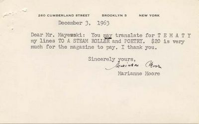 """TLS. 1pg. 5 ½"""" x 3 ½"""". December 3, 1963. Brooklyn. A typed letter signed """"Marianne Moore"""" ..."""