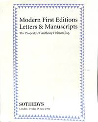Sale 28 June 1996: Modern first Editions, Letters and Manuscripts; The  Property of Anthony Hobson esq.