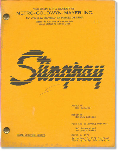 Beverly Hills, CA: Metro-Goldwyn-Mayer , 1978. Revised Final Shooting script for the 1978 film, here...