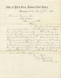 """L. 1pg. 7 ½"""" x 9 ¾"""". March 7, 1862. Washington, D.C. A letter from the Bell and Green National..."""