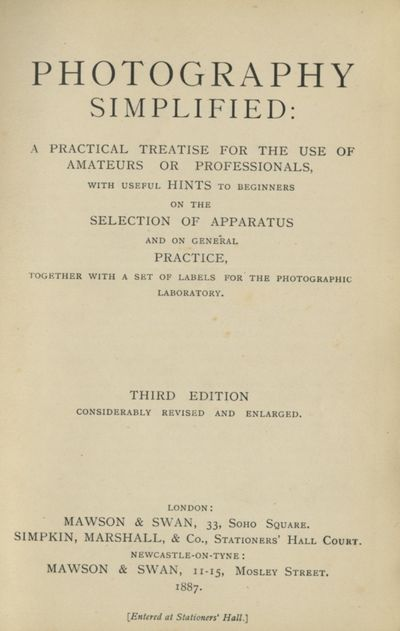 London / Newcastle-on-Tyne: Mawson & Swan, 1887. Third edition, considerable revised and enlarged. 1...