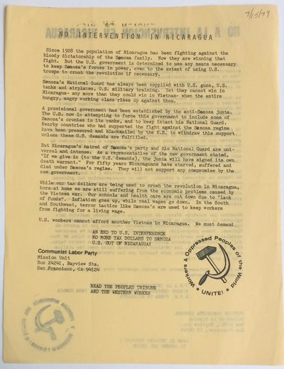San Francisco: Mission Unit, Communist Labor Party, 1979. 8.5x11 inch sheet printed both sides (Engl...
