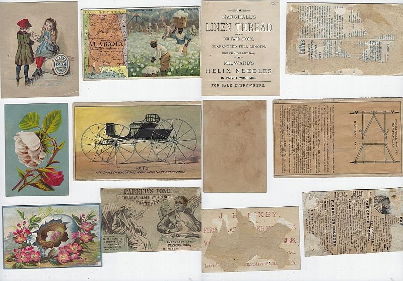 LOT OF SIX SCRAP VICTORIAN TRADE CARDS CHILDREN, ALABAMA, CARRIAGE, Advertisement